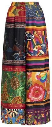 Farm Rio Mixed Scarves Wide-Leg Pants