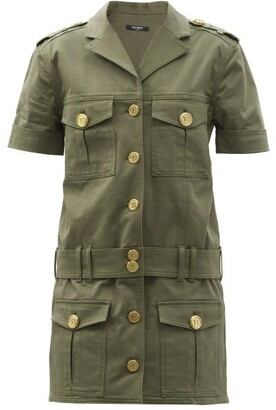 Balmain Cargo-pocket Cotton-blend Mini Shirt Dress - Khaki