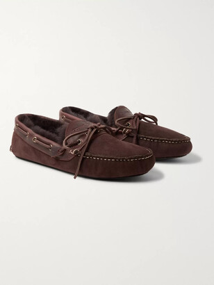 Quoddy Fireside Leather-Trimmed Shearling-Lined Suede Slippers - Men - Brown
