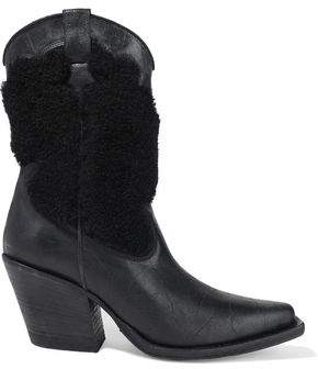 McQ Tammy Shearling-paneled Distressed Leather Boots