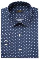 Club Room Men's Classic-Fit Wrinkle Resistant Navy Medallion Dress Shirt, Created for Macy's