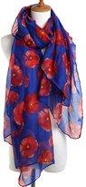 Prettyscarf Autumn Fashion Womens Poppy Flowers Voile Long Silk Scarf