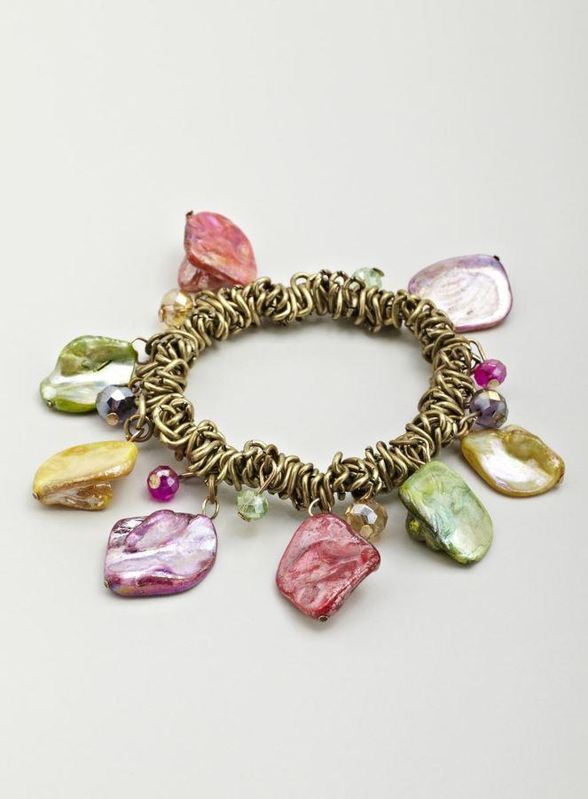 Stephan & Co Stretch Bead & Shell Dangle Bracelet