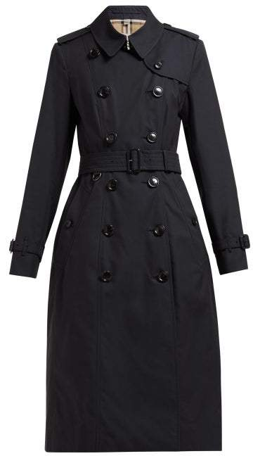Burberry Chelsea Belted Double Breasted Cotton Trench Coat - Womens - Navy