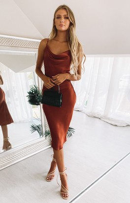 Beginning Boutique Schiffer Slip Midi Dress Rust