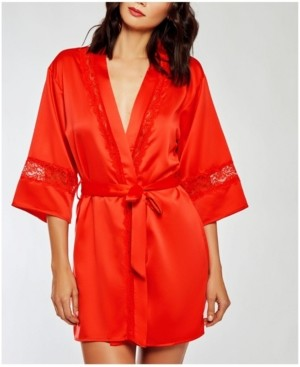 iCollection Miaya Satin Cut Out Laced Trimmed Lounge Robe