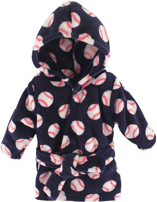 Luvable Friends Boys' Bath Robes Baseball - Baseball Hooded Fleece Robe - Newborn