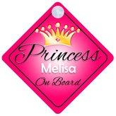 mybabyonboard UK Princess Melisa On Board Personalised Girl Car Sign Baby / Child Gift 001