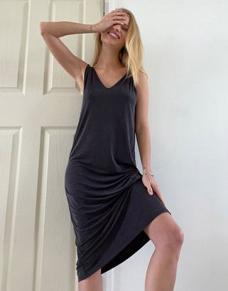 And other stories & cupro sleeveless twist strap midi dress in black