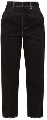 Alexander McQueen High-rise Topstitched-cotton Jeans - Womens - Black