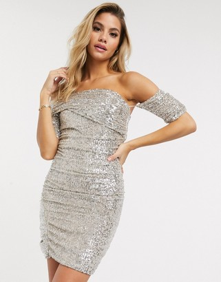 Club L London fallen shoulder bardot sequin mini dress in silver