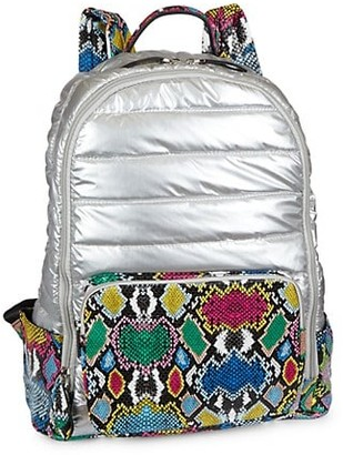 Bari Lynn Metallic Snake-Embossed Puff Backpack