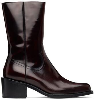 Dries Van Noten Burgundy Leather Zip-Up Boots