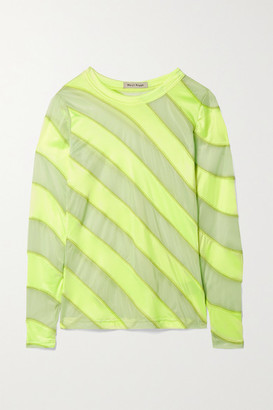 Meryll Rogge Neon Satin-jersey And Mesh Top - Chartreuse