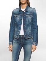 Calvin Klein Womens Jet Blue Denim Trucker Jacket