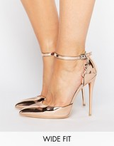 Lost Ink Wide Fit Scalloped Rose Gold Metallic Heeled Shoes