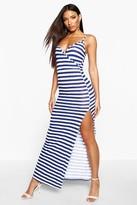 boohoo Stripe Wrap Front Maxi Dress