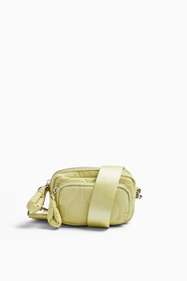 Topshop Lime Green Micro Quilted Nylon Cross Body Bag