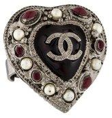 Chanel Faux Pearl & Enamel Heart Ring