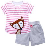 OHBABYKA Little Girls' Cotton Clothing Short Sets,Kids Summer Jersey Play Set