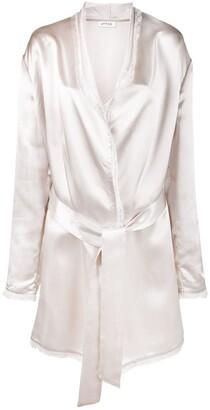 ATTICO Frayed Metallic-Sheen Robe Jacket