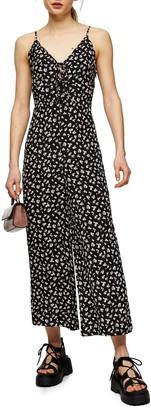 Topshop Floral Tie Front Wide Leg Jumpsuit