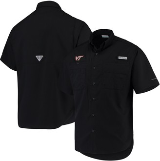 Men's Columbia Black Virginia Tech Hokies PFG Tamiami Omni-Shade Button-Down Shirt