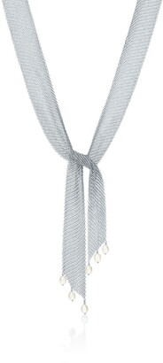 Tiffany & Co. Elsa Peretti Mesh tie necklace in sterling silver with freshwater pearls