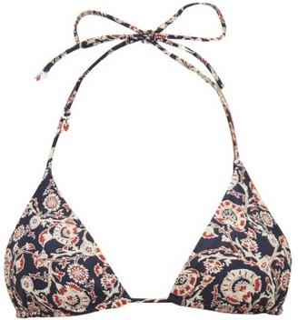 The Upside Jodhi Paisley-print Triangle Bikini Top - Womens - Blue Multi