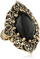 "Barse Guinevere"" Ornate Onyx Ring, Size 7"