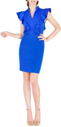 Mac Duggal V-Neck Side-Ruffle Cap-Sleeve Sheath Dress