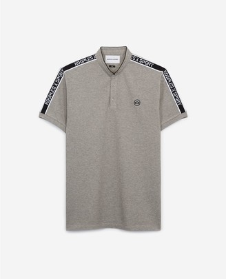 The Kooples Grey cotton polo w/officer collar & stripes