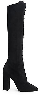 Saint Laurent Women's Laura Lace-Up Suede Boots