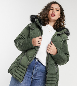 Yours padded jacket with faux-fur trim hood in khaki
