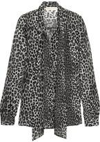 MICHAEL Michael Kors Panther Pussy-bow Printed Chiffon Blouse - Black