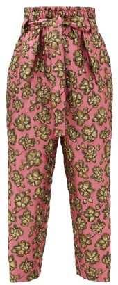 Colville - High-rise Tie-waist Floral-jacquard Trousers - Womens - Pink