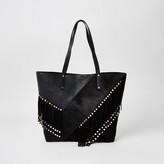 River Island Black leather fringe studded shopper tote bag