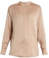 Vince Stand-collar silk-blend satin blouse