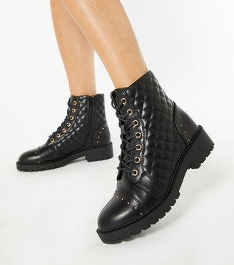 New Look Quilted Stud Lace Up Boots