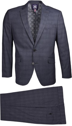 Savile Row Co Grey Plaid Notch Lapel Slim Fit Suit