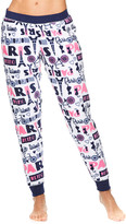 Sleep & Co Women's Sleep Bottoms WHT - White 'Paris' Plush Jogger Pajama Pants - Juniors
