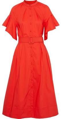 Oscar de la Renta Belted Pleated Cotton-blend Poplin Dress