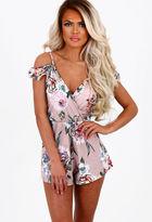 Pink Boutique Allie Nude Floral Print Cold Shoulder Playsuit
