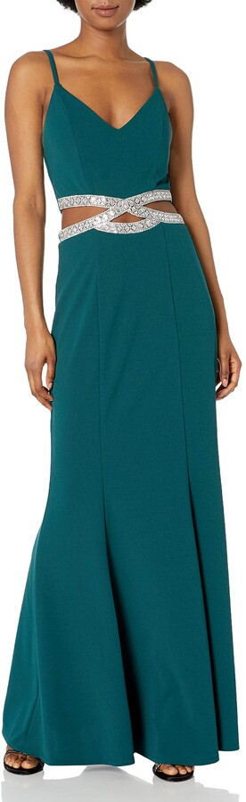 Speechless Women's Full-Length Party Dress with Peek-a-Boo Jeweled Waist Formal