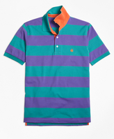 Brooks Brothers Slim Fit Bright Rugby Stripe Performance Polo Shirt