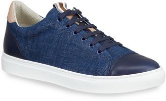 Brunello Cucinelli Men's Denim Low-Top Sneakers w/ Leather Trim