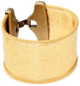 """Streets Ahead 1 1/2"""" Embossed Sketchy Floral Clean Gold Cuff Bracelet"""