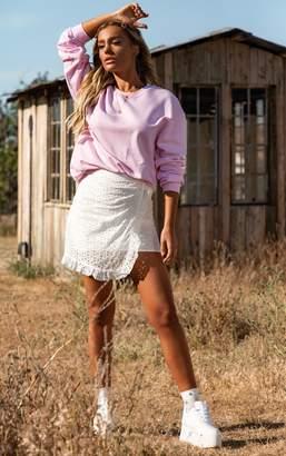 PrettyLittleThing White Broderie Anglaise Tie Detail Frill Hem Skirt