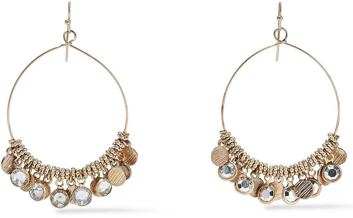 Kenneth Jay Lane Burnished Gold-tone Crystal Earrings