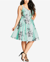 City Chic Trendy Plus Size Cutout Fit & Flare Dress